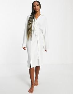 Белый легкий халат из вафельной ткани с капюшоном Topshop