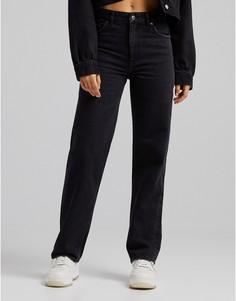 Черные джинсы в винтажном стиле с завышенной талией Bershka-Черный цвет