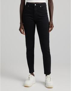 Черные джинсы скинни с завышенной талией Bershka-Черный цвет
