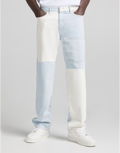 Разноцветные джинсы в стиле 90-х с нахлестом Bershka-Голубой