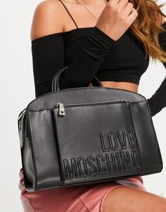 Черная сумка-тоут с ручкой Love Moschino-Черный цвет
