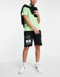 """Черные шорты с принтом """"Repeat"""" от комплекта Topman-Черный цвет"""