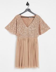 Розовое платье мини с юбкой из тюля и отделкой Beauut Bridesmaid-Розовый цвет