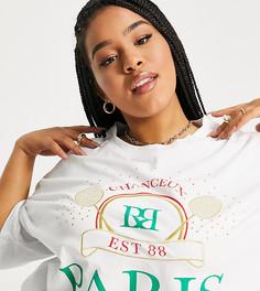 """Белая футболка в теннисном стиле oversized с надписью """"Paris"""" River Island Plus-Белый"""
