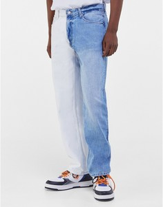 Голубые джинсы прямого кроя в стиле 90-х с контрастными штанинами Bershka-Голубой