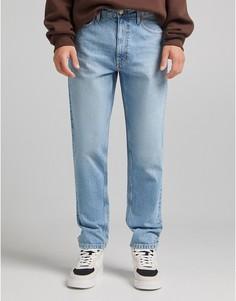 Светло-синие джинсы прямого кроя Bershka-Голубой