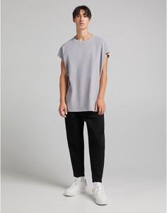 Черные объемные джинсы Bershka-Черный цвет