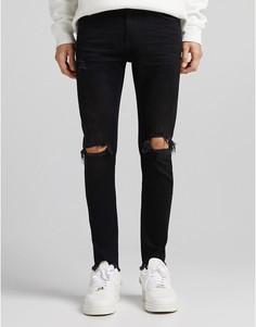 Черные супероблегающие джинсы с прорехами Bershka-Черный цвет