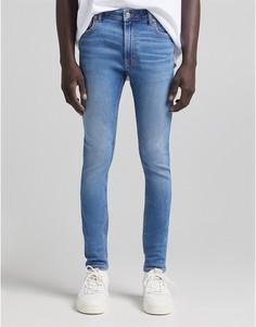 Синие джинсы супероблегающего кроя Bershka-Голубой