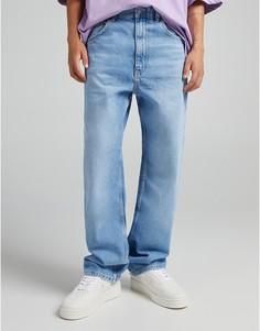 Голубые свободные джинсы Bershka-Голубой