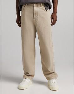 Объемные джинсы табачного цвета Bershka-Коричневый цвет
