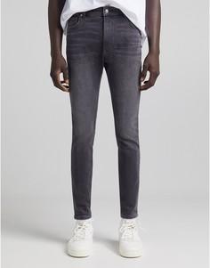 Серые джинсы скинни Bershka-Голубой