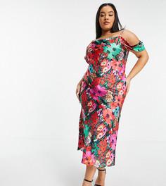 Атласное платье-комбинация мидакси с открытыми плечами и ярким цветочным принтом Hope & Ivy Plus-Многоцветный