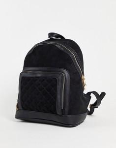 Черный замшевый стеганый рюкзак с карманом спереди Forever New Shannon-Черный цвет