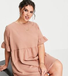 Платье мини цвета капучино с присборенной юбкой Lola May Plus-Коричневый цвет