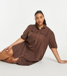 Платье-рубашка мини с пышными рукавами Lola May Plus-Коричневый цвет