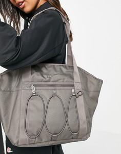 Серая сумка-тоут шопер серого цвета Nike-Светло-бежевый цвет