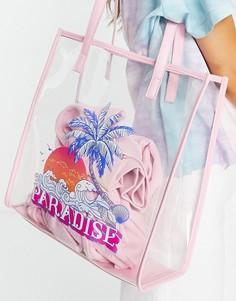 "Розовая прозрачная сумка-тоут с надписью ""Paradise"" Skinnydip-Прозрачный"