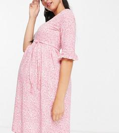 Розовое платье мини с поясом и мелким цветочным принтом Mamalicious Maternity-Разноцветный Mama.Licious