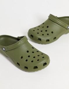 Классические кроксы цвета зеленого хаки Crocs-Зеленый цвет