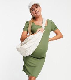 Зеленое платье миди с квадратным вырезом Mamalicious-Зеленый цвет Mama.Licious