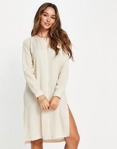 Кремовое платье-рубашка в виде туники Selected Tammy-Светло-бежевый цвет