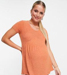 Коричневая футболка с баской Mamalicious-Коричневый цвет Mama.Licious
