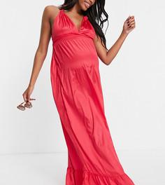 Розовое платье макси с завязками на спине Pieces Maternity-Розовый цвет