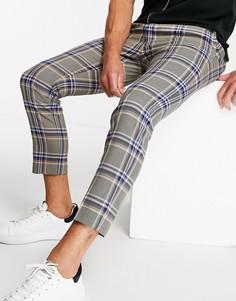Зауженные брюки-джоггеры в клетку синего и светло-бежевого цвета Topman-Голубой
