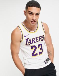 Белая трикотажная майка с надписью Lakers и James Nike Basketball NBA LA Lakers Association Edition Lebron James-Белый