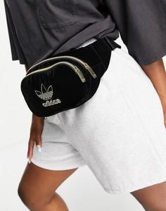 Черная бархатная сумка-кошелек на пояс adidas Originals Adicolor-Черный цвет