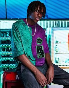 Oversized-футболка в стиле колор блок с принтом тай-дай и нашивками на груди ASOS DESIGN-Разноцветный