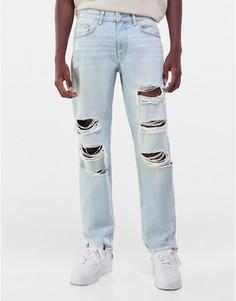 Голубые рваные джинсы в стиле 90-х Bershka-Голубой