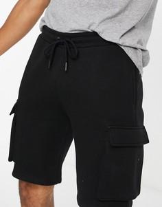 Черные трикотажные шорты карго от комплекта Topman-Черный цвет