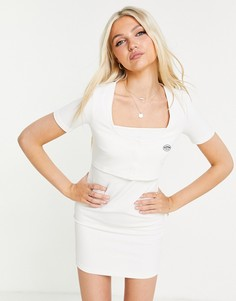 Белое платье мини в рубчик с квадратным вырезом Urban Revivo-Белый