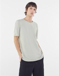 Серая футболка с необработанными краями Bershka-Серый