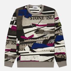 Мужская толстовка Stone Island Mixed Media All Over Print, цвет серый, размер M