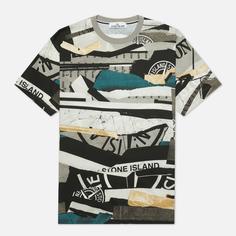 Мужская футболка Stone Island Mixed Media All Over Print Slim Fit, цвет синий, размер XL