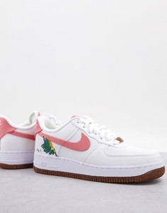 Белые и бордовые кроссовки с цветочной вышивкой Nike Blazer Mid 1 07 Move To Zero-Белый