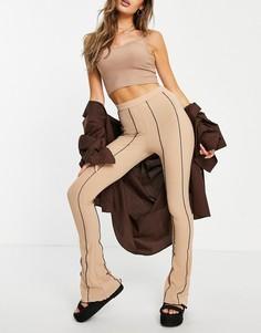 Светло-бежевые расклешенные брюки с контрастными декоративными швами от комплекта Topshop-Светло-бежевый цвет