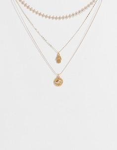 Серебристое ярусное ожерелье с подвеской в виде глаза ALDO Nungarin-Золотистый