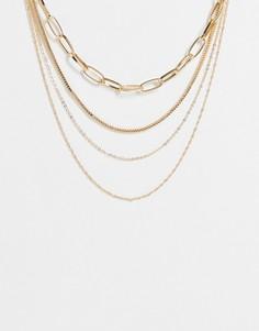 Золотистое ярусное ожерелье из различных цепочек ALDO Eoweiniel-Золотистый