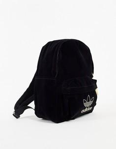 Маленький бархатный рюкзак черного цвета adidas Originals adicolor-Черный цвет