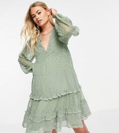 Многоярусное платье мини цвета хаки из мягкой ткани добби ASOS DESIGN Maternity-Зеленый цвет