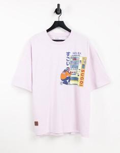 Розовая футболка с принтом в японском стиле на спине Bershka-Розовый цвет