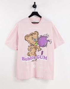 Розовая футболка с принтом жевательной резинки Bershka-Розовый цвет