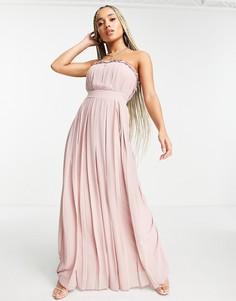 Плиссированное платье макси бледного розовато-лилового цвета TFNC-Розовый цвет