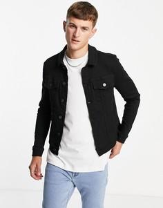 Черная облегающая джинсовая куртка River Island-Черный цвет