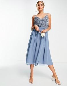 Голубое платье миди с юбкой из тюля и отделкой Beauut Bridesmaid-Голубой