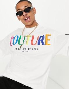 Белая oversized-футболка с логотипом Versace Jeans Couture-Белый